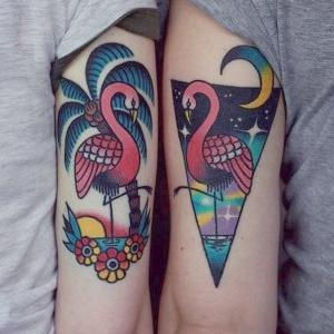tatuajes de flamencos para hermanas