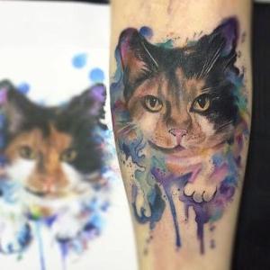 tatuaje de gato acuarela