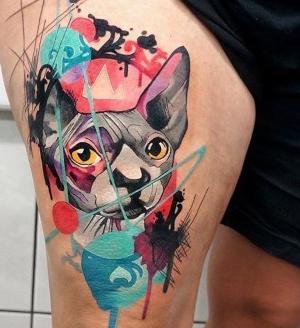 tatuaje de gato spinx