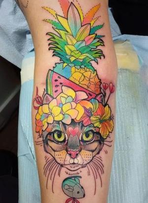 tatuaje divertido de gato