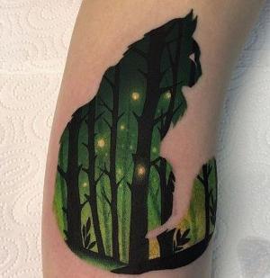 tatuaje silueta de gato