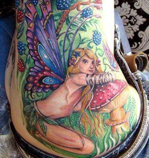 tatuaje de hada a color
