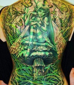 tatuaje de hada verde