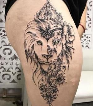 tatuaje para mujer de leon