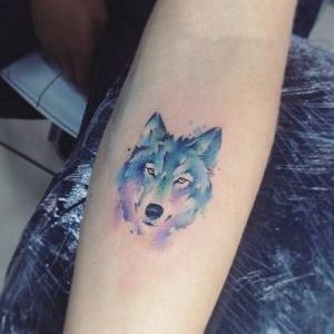tatuaje de lobo a color