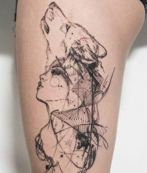 tatuajes bosquejos de lobo y mujer