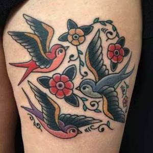 tatuajes de pajaros old school