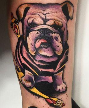 tatuaje de perro bulldog ingles