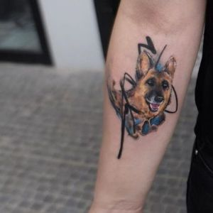tatuaje de perro pastor aleman