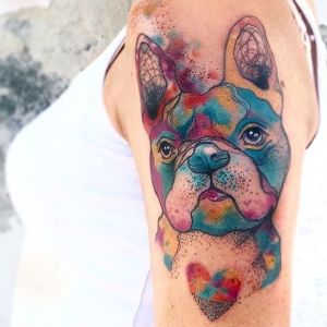 tatuaje watercolor de perro